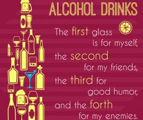 Alcohol drinks poster vector
