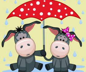 Animals and umbrella cartoon vector