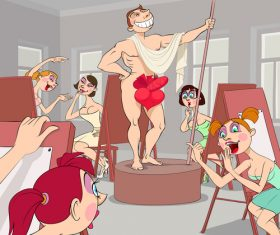 Art school funny caricature vector