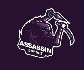 Assassin gaming logo vector