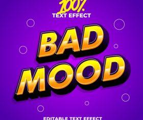 Bad mood editable font effect text vector