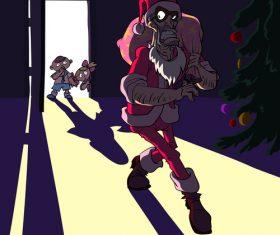 Bad santa funny caricature vector