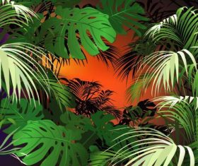 Banana leaf plant background vector