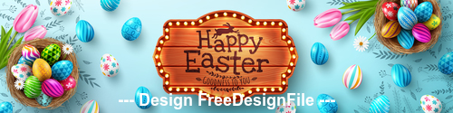 Banner Easter painted eggs vector