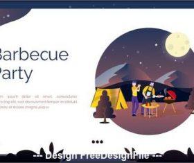 Barbecue party cartoon illustration vector