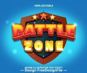 Battl zone editable font effect text vector