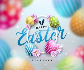 Beautiful easter painted eggs vector