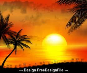 Beautiful sunrise illustrations vector