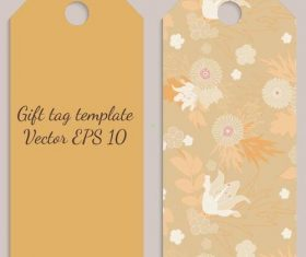 Beige flower background tag template vector