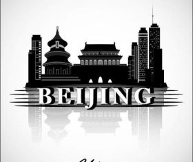 Beijing city silhouette vector