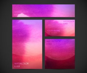 Bicolor watercolor gradient card background vector