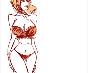 Bikini woman graphic sketch vector
