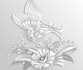 Bird and flower paper cut art vector