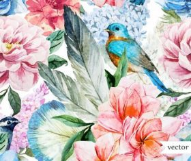 Bird and flower watercolor vector pattern