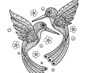 Bird design decorative sketch black vector