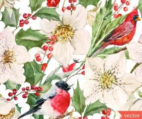 Birds in flowers watercolor vector pattern