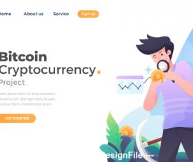 Bitcoin cryptocurrency flat concept vector