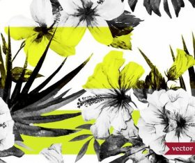Black and white tones flowers watercolor vector pattern