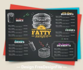 Black background fast food menu vector