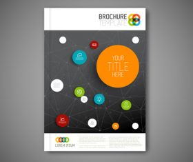 Black background network brochure cover vector