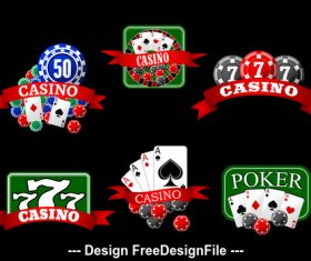 Black green background playing cards and chip icon vector
