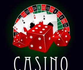 Blackjack poker and chips icon vector
