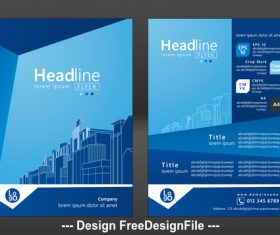 Blue background real estate brochure cover vector