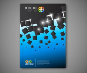 Blue black brochure cover vector