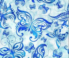 Blue butterfly abstract seamless pattern vector
