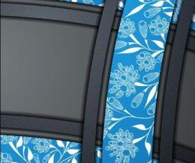 Blue flower background and black frame vector