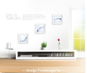 Bookcase and wall pendant vector