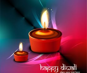 Bright candlestick diwali vector