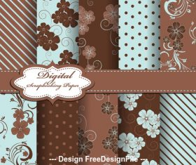 Brown seamless floral pattern vector
