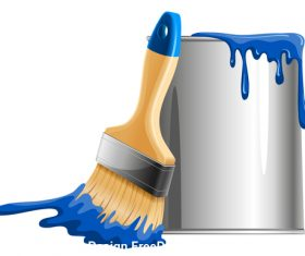 Brushand blue paint bucket vector