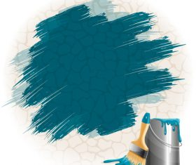 Bucket of paint and brush vector