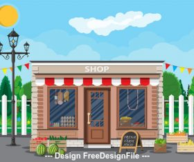 Building daily necessities store vector