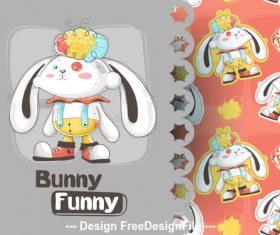 Bunny funny cartoon background illustration vector