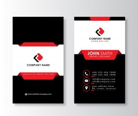 Modern vertical business card template  red and black