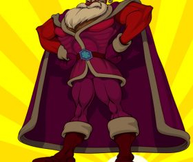 Captain santa funny caricature vector