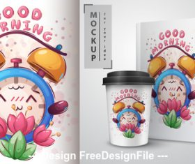 Cartoon alarm clock merchandising mockup print vector