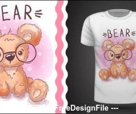 Cartoon bear and t-shirt pattern vector
