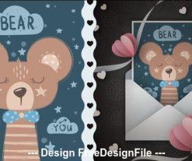 Cartoon illustration pattern bear vector