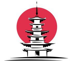 Cartoon japanese tower vector
