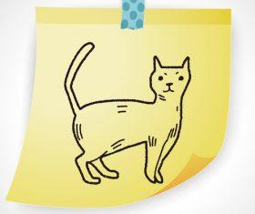 Cat creative doodle vector