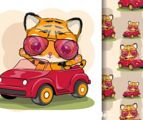 Cat sitting in the car cartoon illustration vector