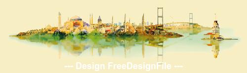 City watercolor vector