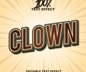 Clown editable font effect text vector