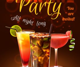 Cocktail poster vector