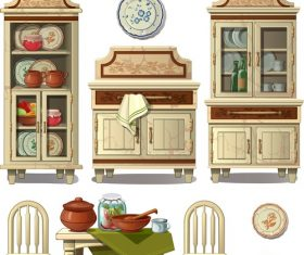 Collection cabinet cartoon vector