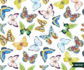 Colorful butterflies watercolor vector pattern